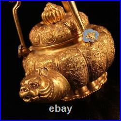 Rare China Qing Dynasty Pure copper gilding set Cloisonne Tiger head pot