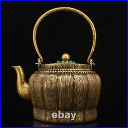 Rare China antique The Republic of China Pure copper set gemstone teapot
