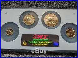 Rare Perfect Ngc Ms70 2006-w 4-coin Burnished Gold Eagle Set $50 $25 $10 $5