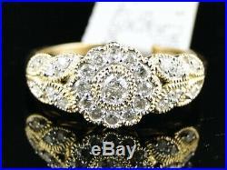 Real 10K Yellow Pure Gold Ladies Wedding Band Bridal Ring Set 1.75 Ct Diamond