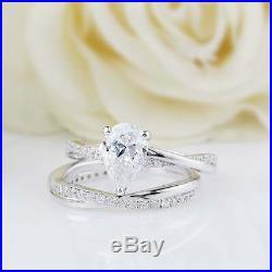 Real 10k White Pure Gold Pear White Diamond Bridal Engagement Ring Set 2.10 Ct