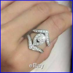 Real 10k White Pure Gold Round Diamond Women's Bridal Band Engagement Ring Set
