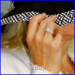 Real 10k White Solid Pure Gold 3 PCS Wedding Band Bridal Ring Set Round Diamond