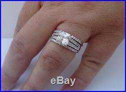 Real 10k White Solid Pure Gold Wedding Band Bridal Ring Set Princess Diamond