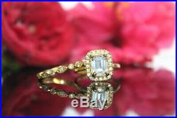 Real 10k Yellow Pure Gold Emerald Cut White Diamond Bridal Engagement Ring Set