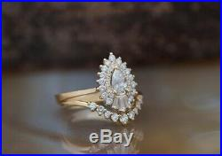 Real 10k Yellow Pure Gold Pear Cut White Diamond Bridal Engagement Ring Set
