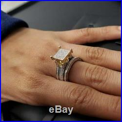 Real 10k Yellow Pure Gold Round White Diamond Wedding Band Set Engagement Ring