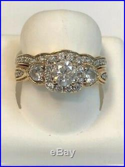 Real 10k Yellow Pure Gold Wedding Engagement Bridal Band Ring Set 2 Ct Diamond