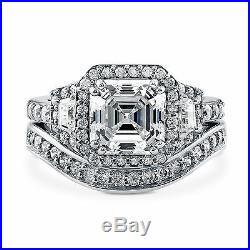 Real 14 kt White Gold 1.61 Ct Diamond Engagement Rings Pure Band Set Size 5 7