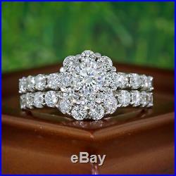 Real 14K Solid White Pure Gold Engagement Bridal Wedding Band Ring Set Diamond
