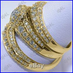 Real 14K Yellow Pure Gold Diamond Engagement Bridal Wedding Band Trio Ring Set