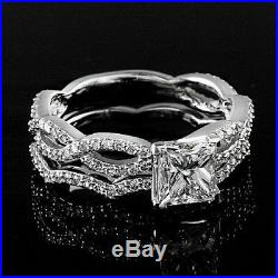 Real 14k White Pure Gold 2.30 Princess Diamond Bridal Band Engagement Ring Set