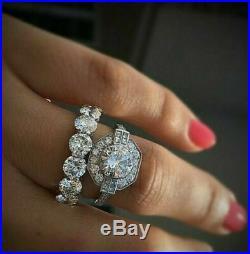 Real 14k White Pure Gold 2.80 CT Round Diamond Halo Wedding Bridal Band Ring Set