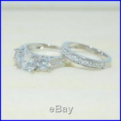Real 14k White Pure Gold 4.00 CT Round Cut Diamond Wedding Bridal Band Ring Set
