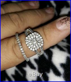 Real 14k White Pure Gold Engagement Wedding Bridal Band Ring Set Round Diamond