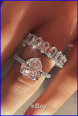 Real 14k White Pure Gold Heart Cut Diamond Love Engagement Wedding Band Ring Set