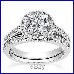 Real 14k White Pure Gold Ladies Wedding Bridal Engagement Ring Set 2 CT Diamond