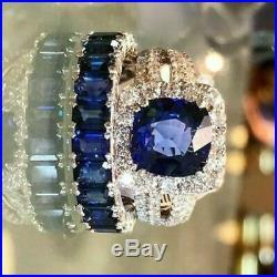 Real 14k White Pure Gold Sapphire & Diamond Halo Wedding Bridal Band Ring Set