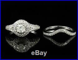 Real 14k White Pure Gold Women's Wedding Bridal Engagement Ring Set 2 CT Diamond