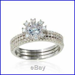 Real 14k White Solid Pure Gold 3 PCS Wedding Band Bridal Ring Set Round Diamond