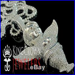 Real White Gold Over Pure Silver Lab Diamond Angel Pendant Charm Chain Combo Set