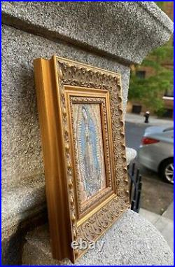 Religious icon set Of 2 Of Lady Guadalupe Mary Pure Cotton Gold Yarn Wood Frame