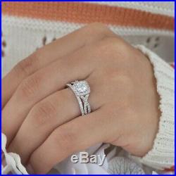 Round Cut Diamond Pure 10k White Gold Wedding Band Set Women's Engagement Ring