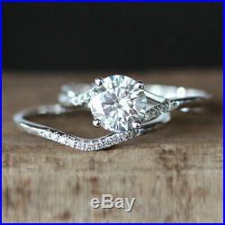 Round Diamond 10K Pure White Solid Gold Wedding Engagement Band Ring Set