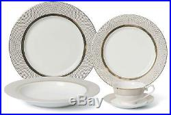 Royalty Porcelain Vintage Gold Dot 20-pc Dinnerware Set'Pure Gold', Bone China