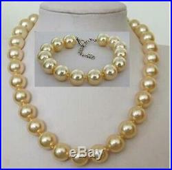 SET 1816mm Natural south sea genuine gold perfect round pearl necklace Bracelet