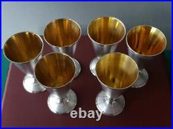 SET 6 OF ANTIQUE ORIGINAL PERFECT GOLD PLATED 6 RUSSIAN SILVER Vodka Shots CUPS