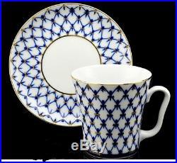 SET of FOUR Authentic Russian Porcelain Lomonosov Cobalt Net Mug -Perfect GIFT