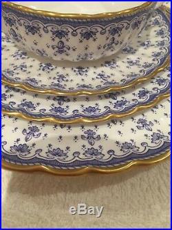 SPODE fleur de lys gold dinner service Tea set plates cups Bowl jug perfect