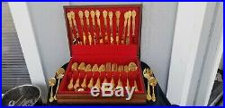 ST. STEEL GOLD PLATED ROGERS Royalty FLATWARE SET 75 PC TABLE SERVICE PERFECT