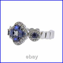 Sapphire & NATURAL DIAMOND Ring14K White Gold Open Setting for Perfect Sizing