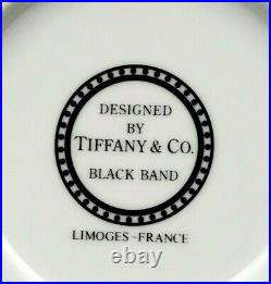Set 3 Tiffany & Co Limoges France RIM SOUP BOWL Black Band Gold Dots Perfect