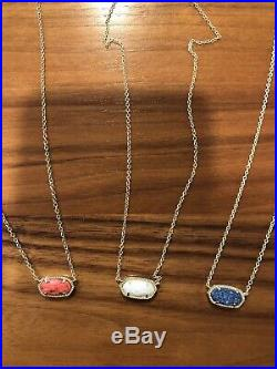 Set Of 3 Kendra Scott Elisa Gold Necklaces With 3 Bags & 1 Box Perfect Condition