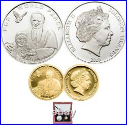 Set of 2 Solomon Islands $10 Sterling Silver Coin and $5 Pure Gold Coin (12749)