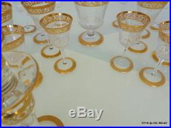 Set of 48 glasses decanter crystal stamped Saint LouisThistle Gold model PERFECT
