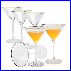 Set of 6 Golden Edge Martini Glasses w Stem Perfect Cocktail/Desserts 8-Ounce