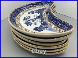 Set of 6, Rare Booths Real Old Willow Crescent Side Dishes A8025 Gold. Perfect