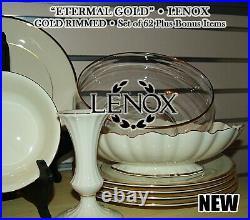 Set of 63 LENOX Eternal Gold Plus 8 Extra Fine China MINT PERFECT NEW Set 71 PC