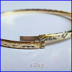 Set of 7 Brand New Pure 14K Gold Bangle Bracelets 6.7 inches PETITE. 3 mm wide