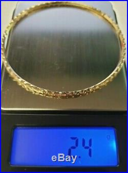 Set of 7 Brand New Pure 14K Gold Bangle Bracelets 7 inches long PETITE. 2mm wide
