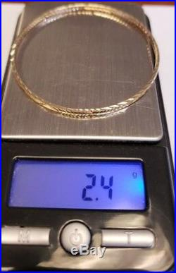 Set of 7 Brand New Pure 14K Gold Bangle bracelets. 6.7 inches Petite 2.5 mm wide