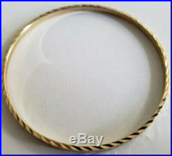 Set of 7 Brand New Pure 14K Gold Bangle bracelets. 7 inches long. 3 mm wide