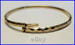 Set of 7 Brand New Pure 14k gold Bangle bracelets 6.7 in long Petite. 3 mm wide