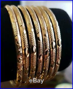 Set of 7 Brand New Pure 14k gold Bangle bracelets. 7 inch long. 3.5 mm wide