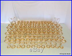 Set of 96 glasses decanter crystal stamped Saint LouisThistle Gold model PERFECT