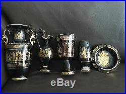 Set of Vintag Gold Gilded & Hand Painted Greek Pottery Items In Perfect Order